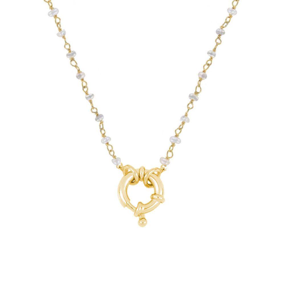Collar rosario perla con reasa marinera plata bañada en oro