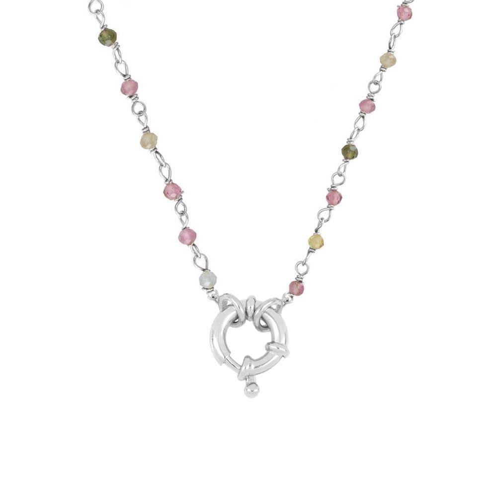 Collar rosario turmalina con reasa marinera en plata