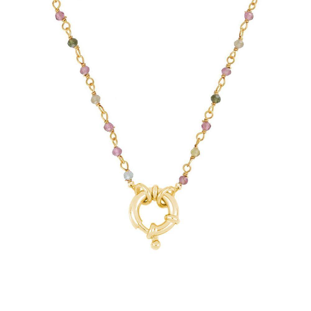 Collar rosario turmalina con reasa marinera plata bañada en oro