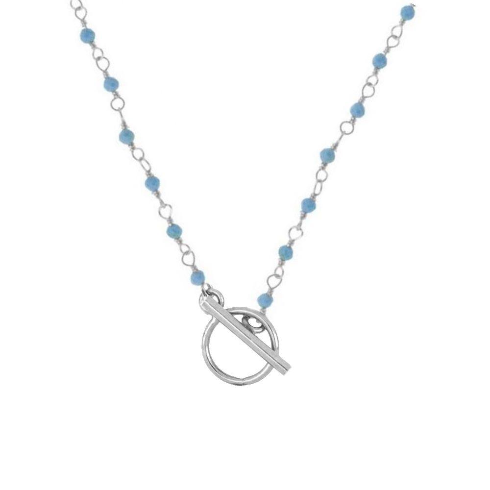 Collar rosario turquesa con cierre T en plata