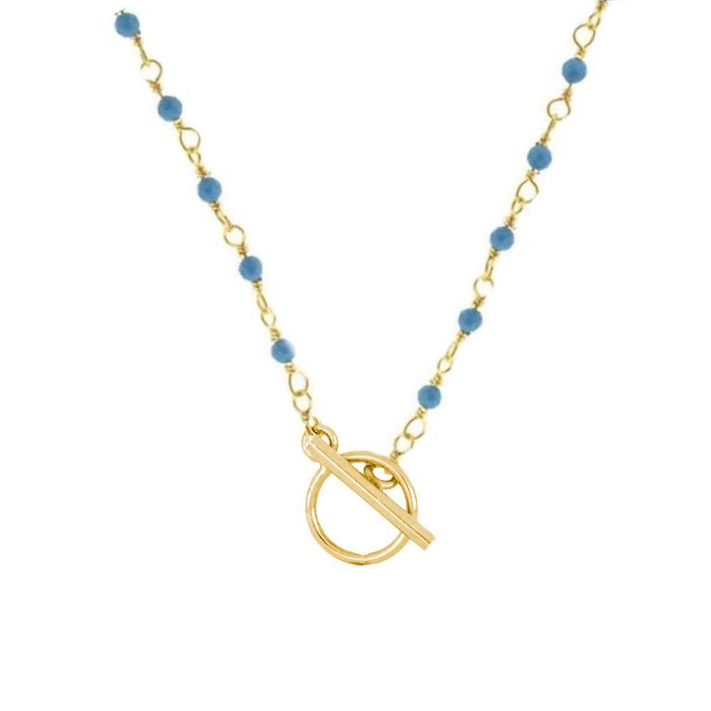 Collar rosario turquesa con cierre T plata bañada en oro