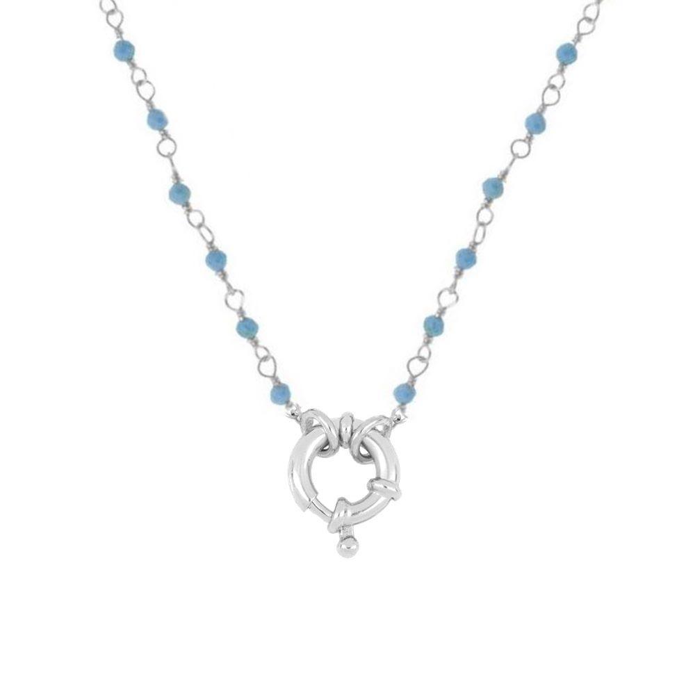 Collar rosario turquesa con reasa marinera en plata