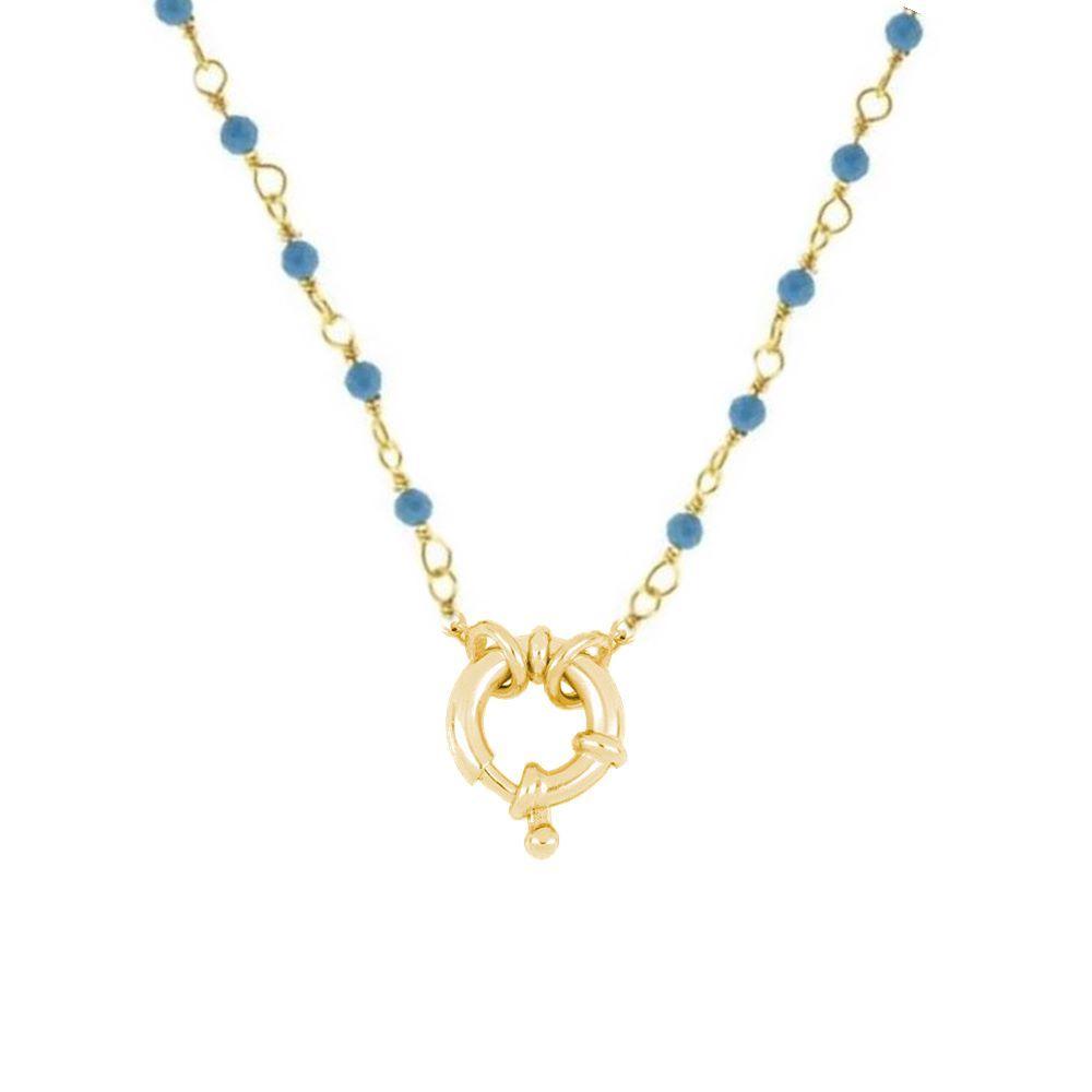Collar rosario turquesa con reasa marinera plata bañada en oro