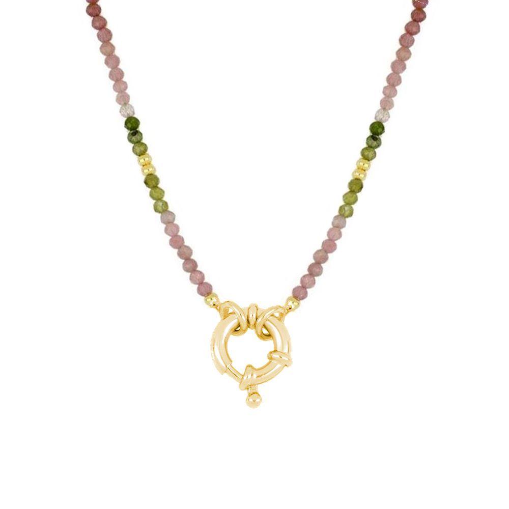 Collar turmalina con reasa marinera plata bañada en oro