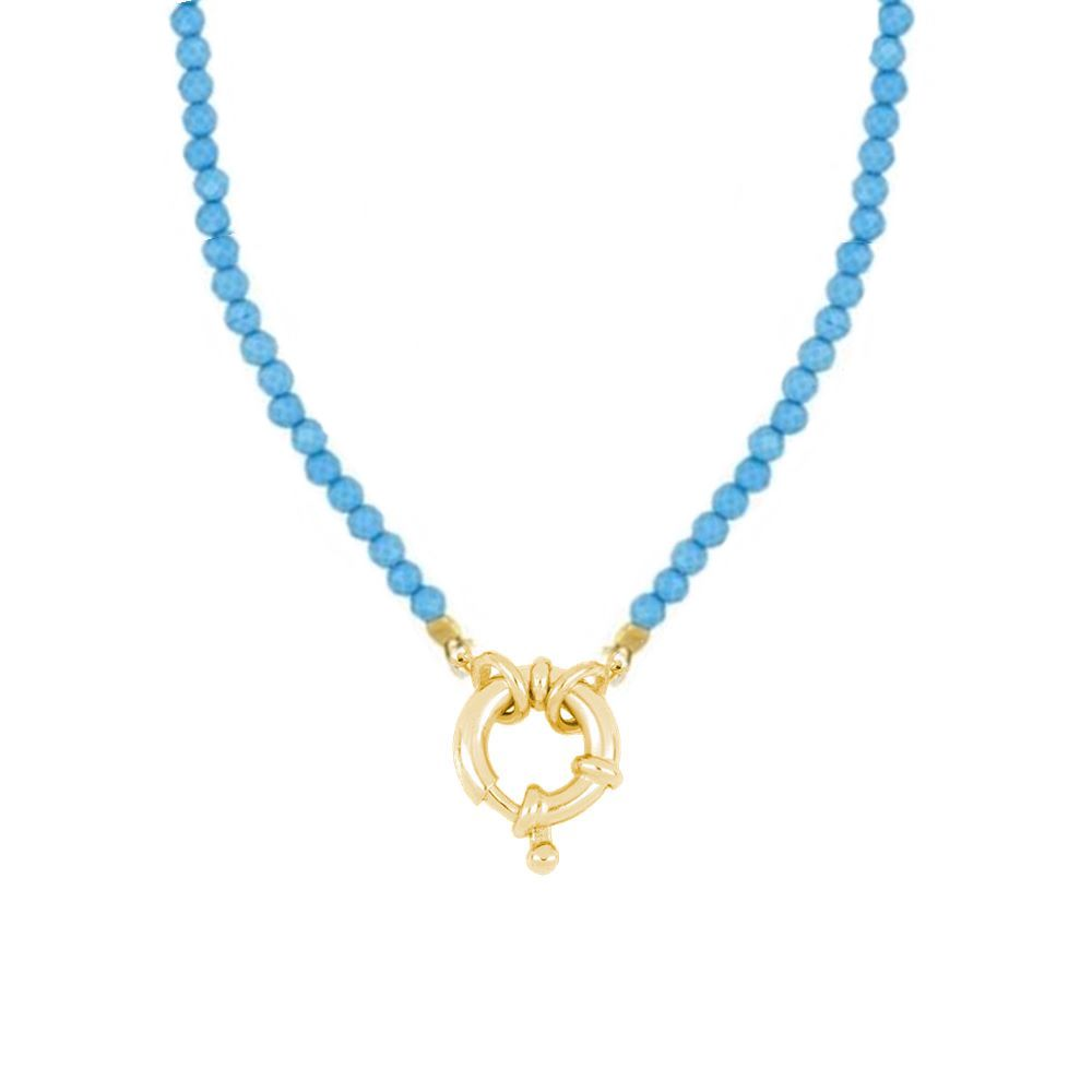 Collar turquesa con reasa marinera plata bañada en oro