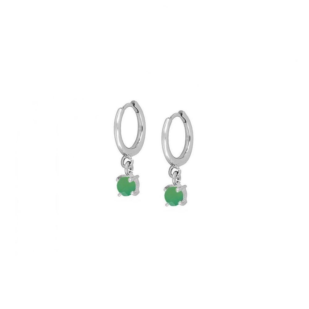 Pendientes aro con ónix verde 4mm en plata