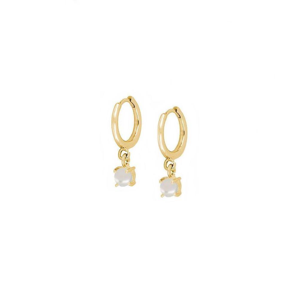 Pendientes aro con perla 4mm plata bañada en oro