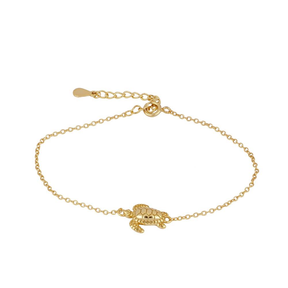 Pulsera tortuga plata bañada en oro