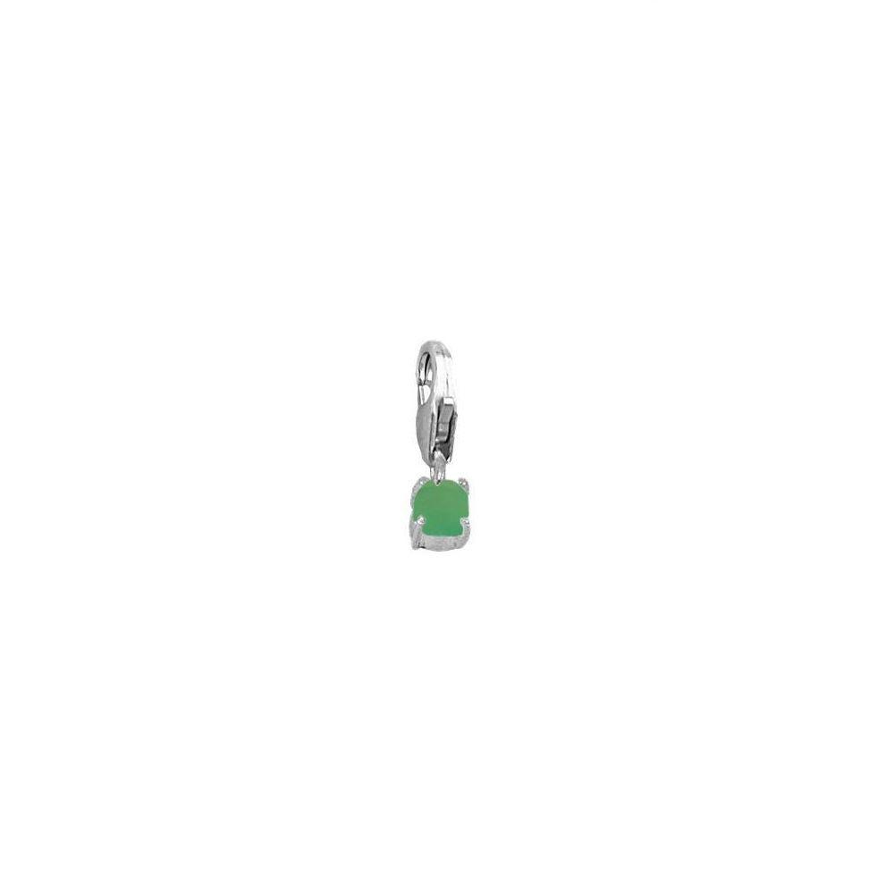 Charm ónix verde 4mm en plata