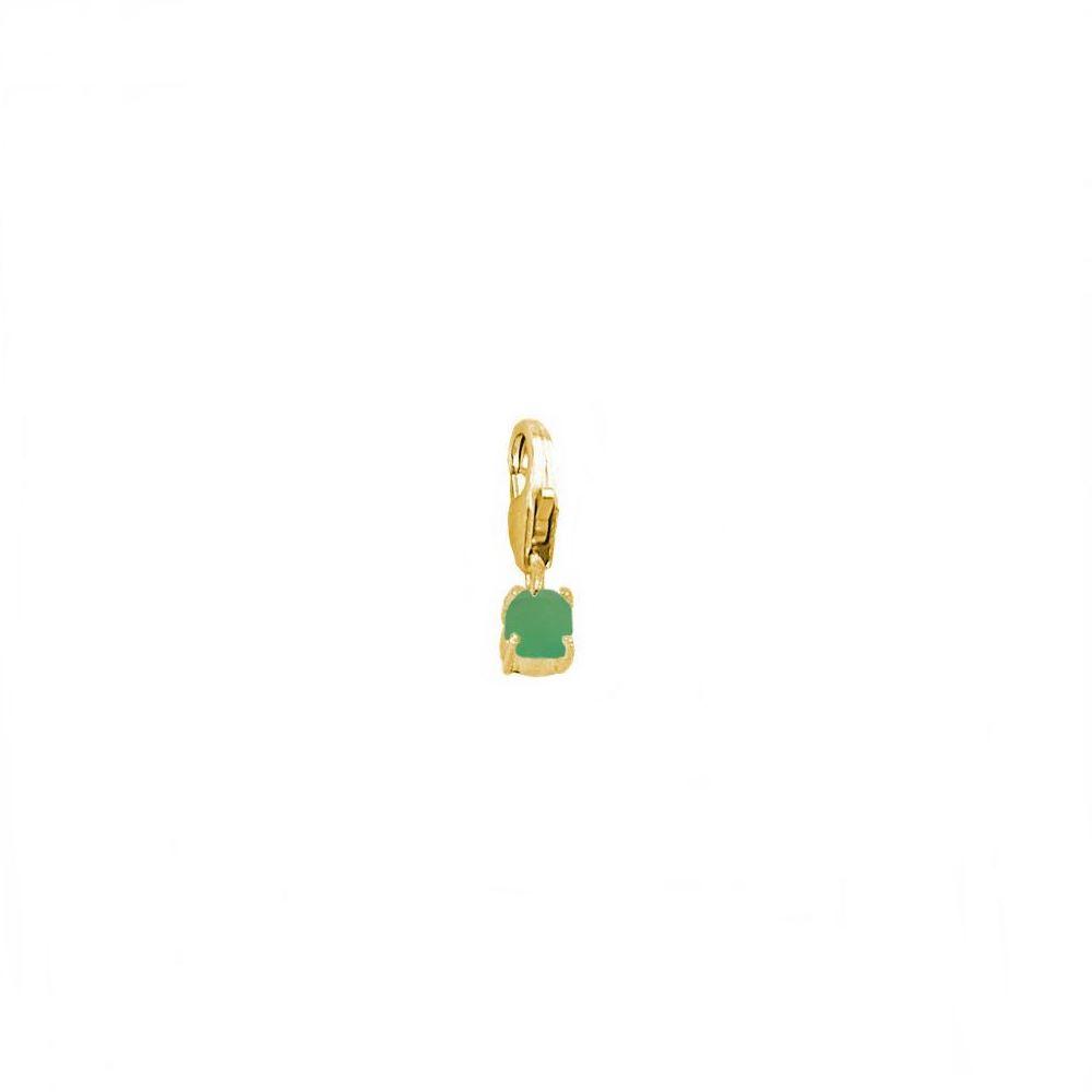 Charm ónix verde 4mm plata bañada en oro