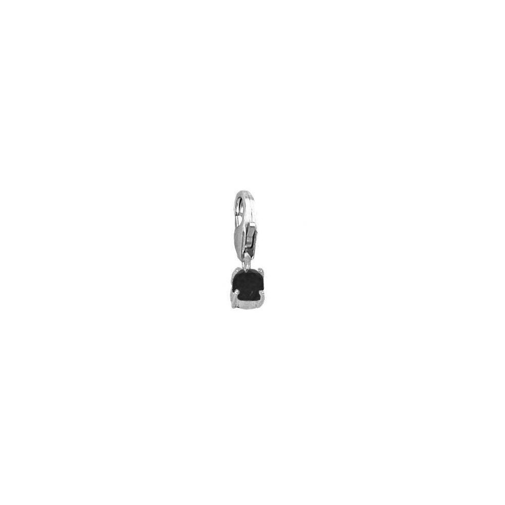 Charm espinela negra 4mm en plata