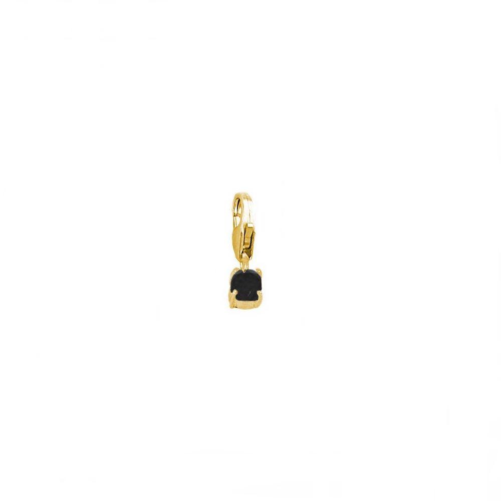 Charm espinela negra 4mm plata bañada en oro
