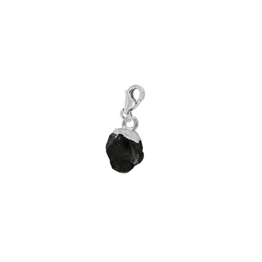Charm espinela negra irregular en plata