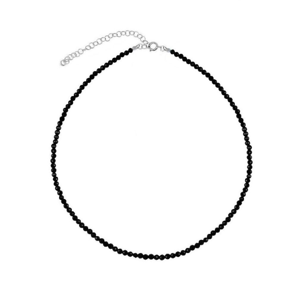 Collar espinela negra en plata
