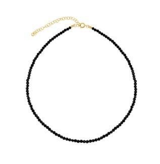 Collar espinela negra plata bañada en oro
