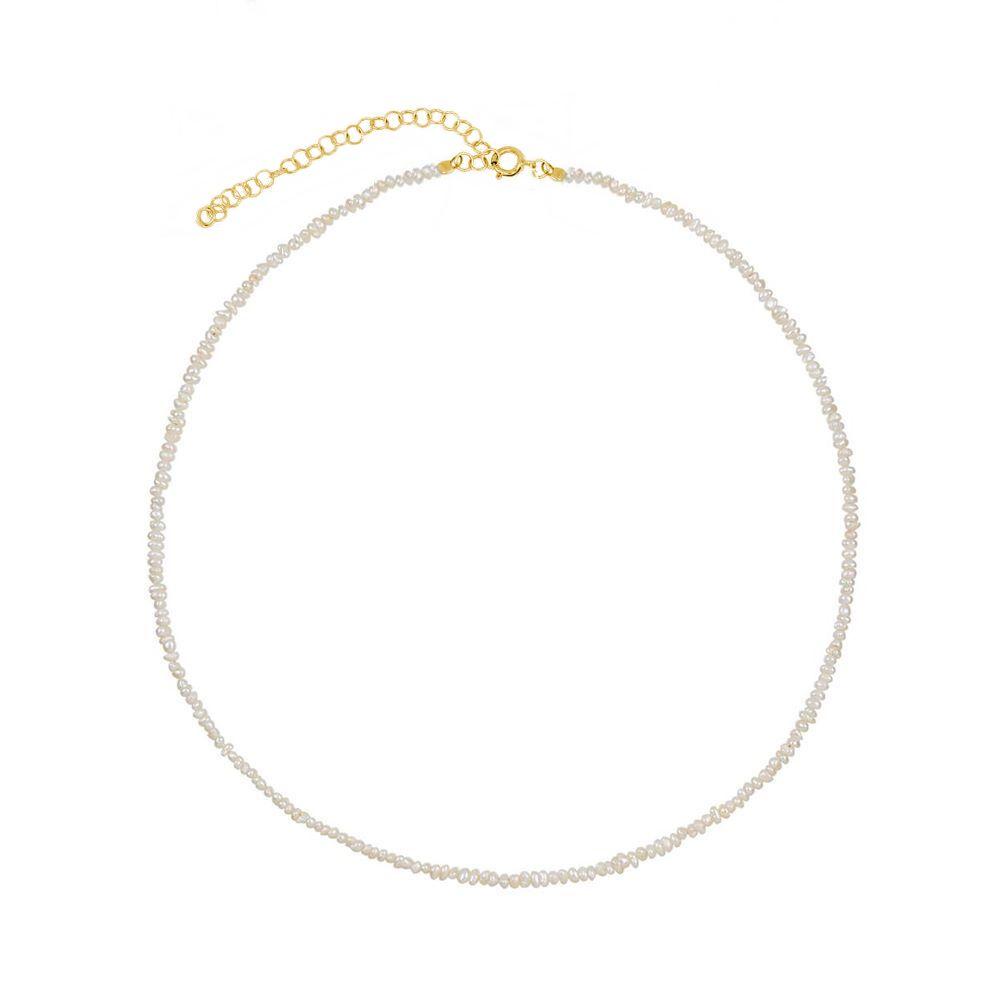 Collar perla plata bañada en oro