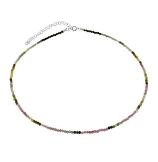 Collar turmalina multicolor en plata