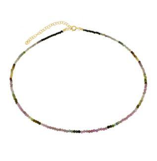 Collar turmalina multicolor plata banada en oro