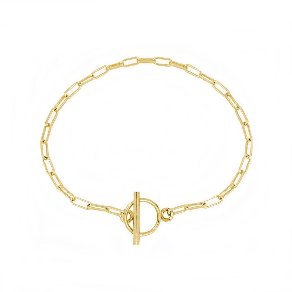Pulsera cadena rectangular con cierre T plata bañada en oro