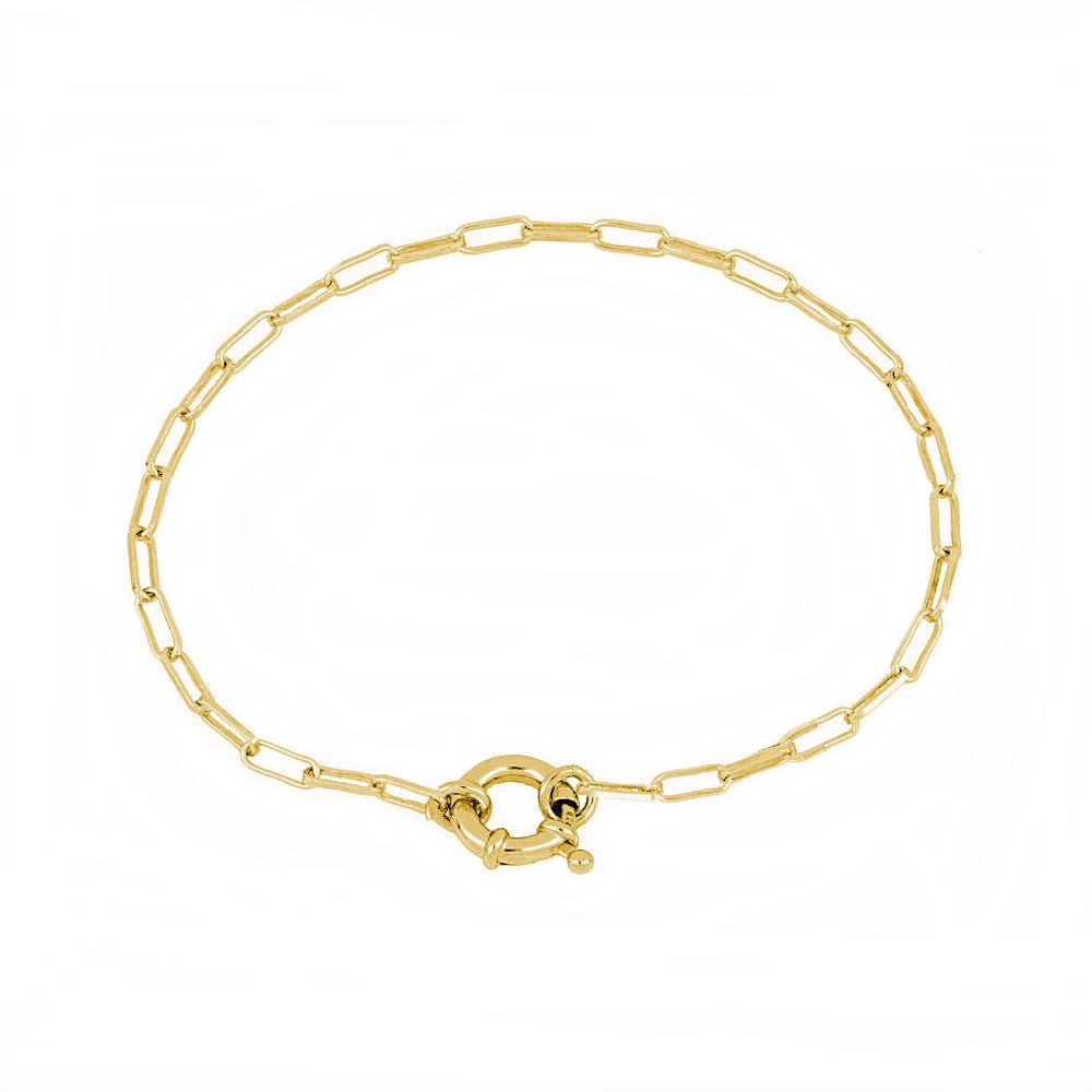 Pulsera cadena rectangular con reasa marinera plata bañada en oro