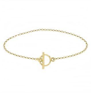 Pulsera cadena rolo con cierre T plata bañada en oro