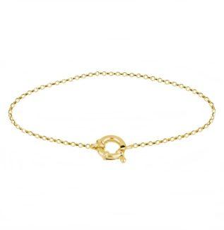 Pulsera cadena rolo con reasa marinera plata bañada en oro